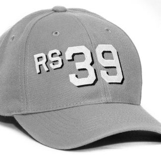 6 panel wool blend cap in gray with block font with drop shadow rs39