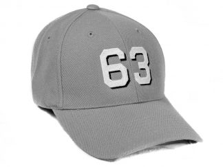 6 panel wool blend cap in gray with block font with drop shadow hull number 63