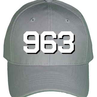 Mockup of the high quality 6-panel wool blend Hull number cap for the USS Spruance (DD-963)