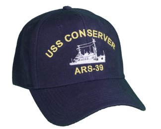 High quality wool blend 6-panel ball cap, navy blue with gold embroidery for USS Conserver