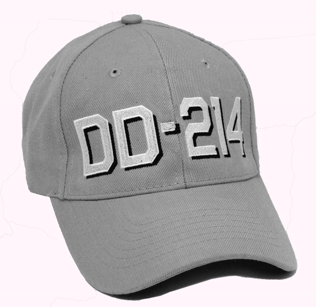 Ball cap for US Military veterans with DD-214 embroidered on wool blend